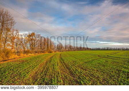 Autumn Morning Landscape Over The City Of Louny. Autumn Sown Field At Amazing Sunrise. Czech Republi