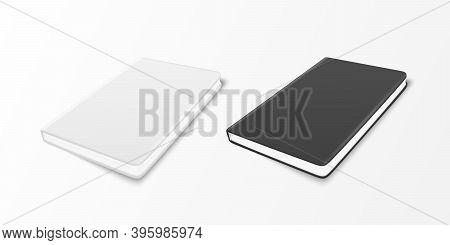 Vector 3d Realistic White And Black Closed Blank Paper Noteboo, Diary Set Isolated On White Backgrou