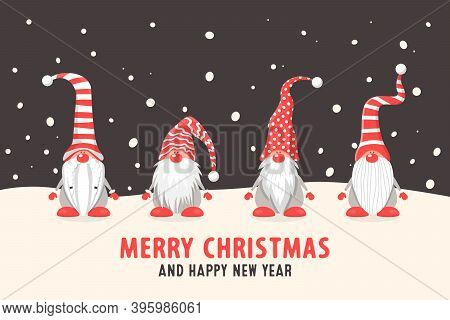 Merry Christmas Postcard. Four Vector Christmas Cute Gnomes With Red Caps In Flat Style On Dark Back