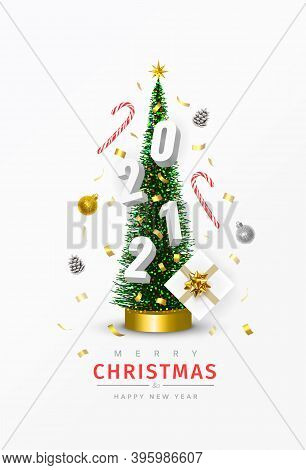 Christmas And New Year 2021 Poster. Conical Christmas Tree. Pine Cones, Sweets, Confetti, Gifts, 202