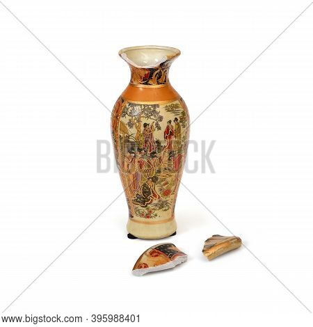 Souvenir Chinese Vase In Ancient Traditions Isolated On A White Background