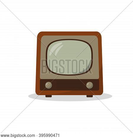 Vintage Television Isolated On White Background. Old Or Retro Tv Model Vector Icons Illustration.