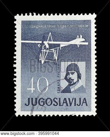 Yugoslavia - Circa 1960 : Cancelled Postage Stamp Printed By Yugoslavia, That Shows Edvard Rusjan An