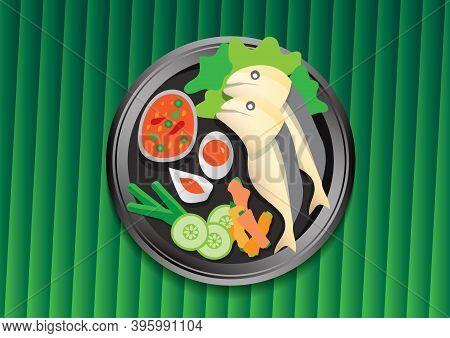 Thai Foodn Green Banana Leaf Vector Illustration. Mackerel Chili Paste. Cartoon