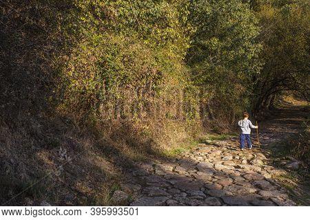 Child Boy Walking Along Forest  Trail. Garganta De Los Infiernos Natural Reserve, Extremadura, Spain