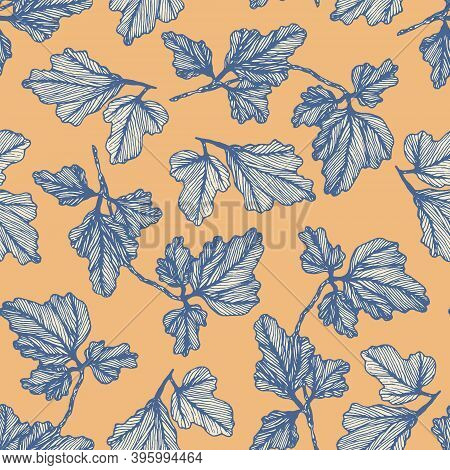 Tender Blue And Orange Floral Seamless Pattern With Hand Drawn Textured Columbine Leaves. Delicate A