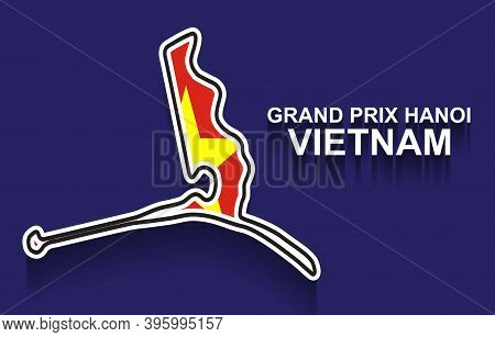 Vietnam Grand Prix Race Track For Formula 1 Or F1 With Flag. Detailed Racetrack Or National Circuit