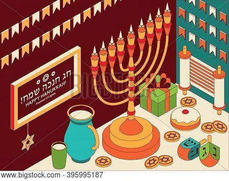 Hanukkah Isometric Template With Torah, Menorah And Dreidels. Translation Happy Hanukkah