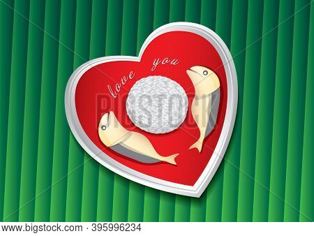 Thai Food On Green Banana Leaf Vector Illustration. Fried Mackerel And Rice On A Heart Shaped Plate.