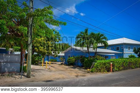 Grand Cayman, Cayman Islands, July 2020, View Of Low Price Rental Terraced House In George Town