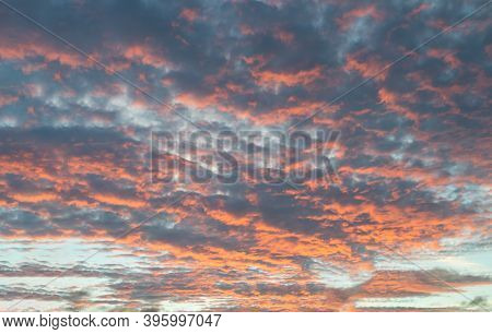 Multicoloured Magenta, Blue And Pink And Orange Sunset Cloudy Evening Sky In Canterbury, Kent, Engla