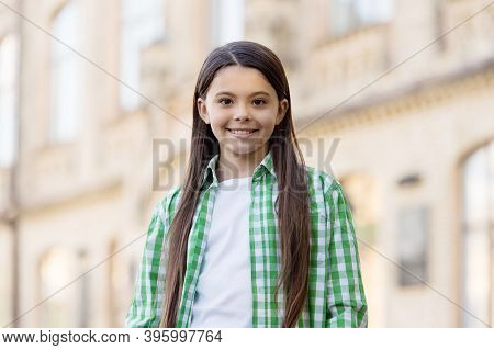 I Love Changing My Style. Fashion Look Of Happy Child Outdoors. Little Fashionista In Casual Wear. C