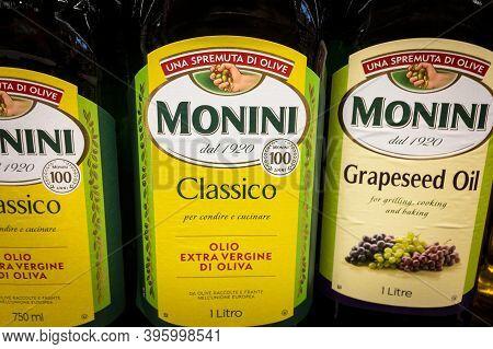 Belgrade, Serbia - October 29, 2020: Monini Logo On Bottle Of Olive And Grapeseed Oil For Sale. Moni