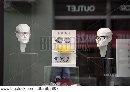 Belgrade, Serbia - August 26, 2020: Gucci Logo In Front Of Their Main Boutique Selling Glasses Eyewe