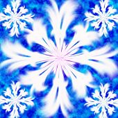 Five white snowflakes on turn blue background poster