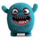 3 d cartoon blue cute furry monster poster