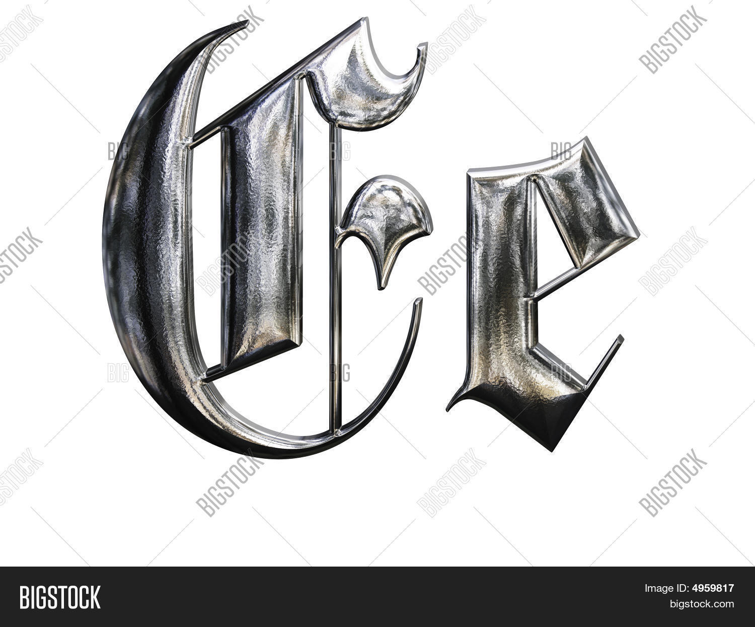 Metallic Patterned Letter Of German Gothic Alphabet Font E