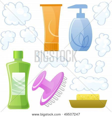 Bottles Of Body And Hair Care And Beauty Products