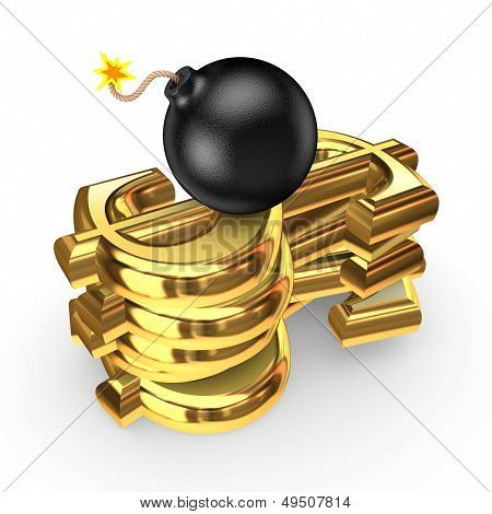 Black bomb and symbols of dollar. Isolated on white. 3d rendered. poster