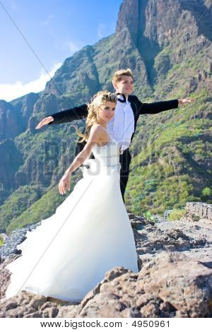 Wedding Couple In The Mountains