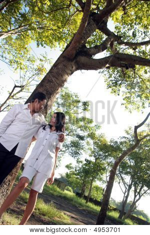 Happy Couple Under Big Tree