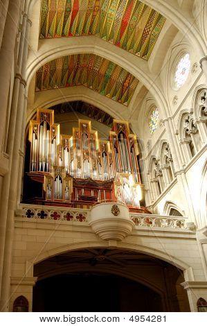 Cathedral Of Almudena, In Madrid, Spain. Organ In Choir