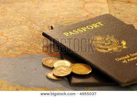 Passports, Coins, & Map