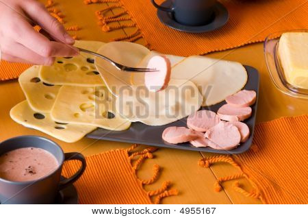 Piece Of Sausages And Cheese