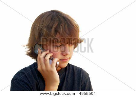 Teen Boy Talking On Mobile Phone