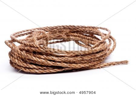 A Coil Of Rope On White