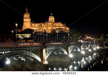 View of Salamanca cathedral at night. Spain poster