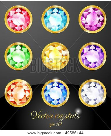 Set of colored crystals. Vector illustration EPS 10. RGB. Contains transparency and blending modes. poster