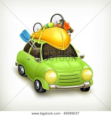 Car travel, vector icon