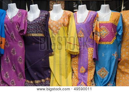 Dubai UAE Colorful women's dresses are displayed for sale at the Al Naif souq in Deira