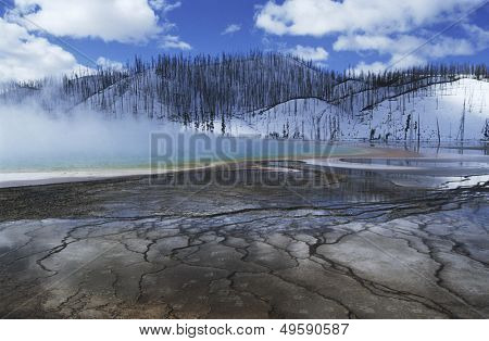 USA Wyoming Yellowstone National Park Grand Prismatic Spring mist over hot spring in winter landscape poster