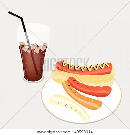 Delicious Hot Dog With A Delicious Iced Coffee