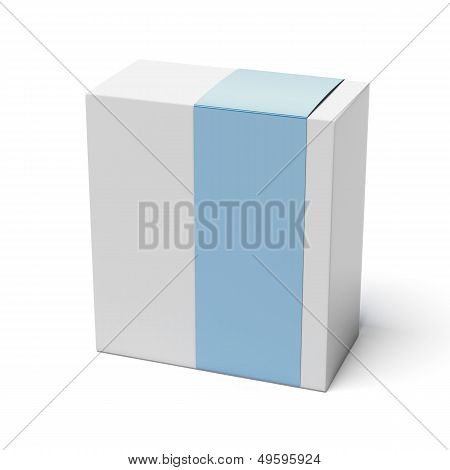 Blank box with blue cover