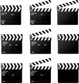 Set of movie clap board on white background. poster
