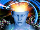 Backdrop of human head and symbolic elements on the subject of human mind consciousness imagination science and creativity poster