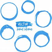 Blue marker paint vector circles set. This is file of EPS10 format. poster