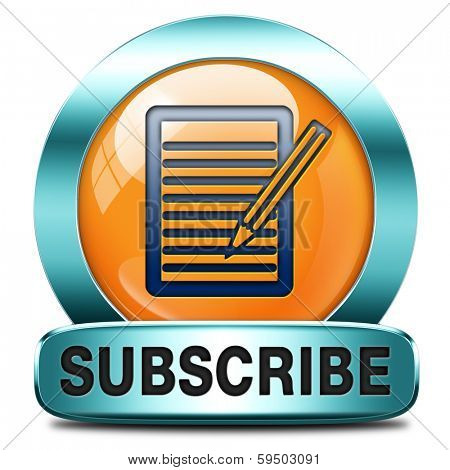 Subscribe here online pen and paper free subscription and membership for newsletter or blog join today orange button or icon