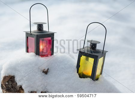 Lamps On Snow
