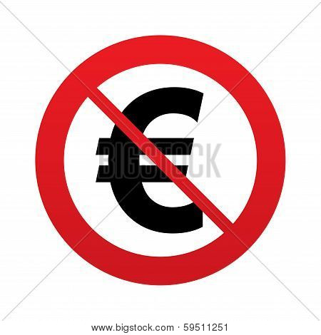 No Euro sign icon. EUR currency symbol.