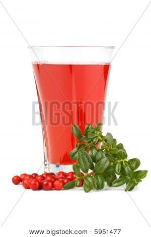 Fresh cowberry and berry juice glass on a white background poster