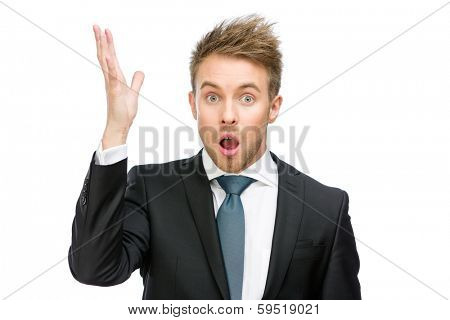 Half-length portrait of amazed businessman with open mouth and hand up, isolated on white