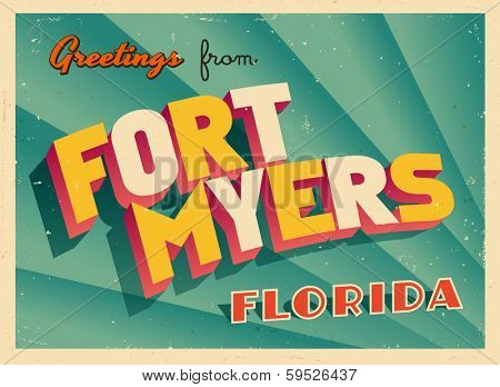 Vintage Touristic Greeting Card - Fort Myers, Florida - Vector EPS10. Grunge effects can be easily removed for a brand new, clean sign.