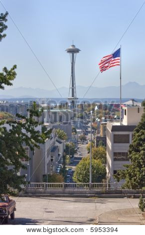 Rare Scenic View Of Seattle Space Needle From Capital Hill