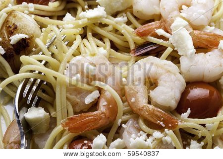 Closeup of Shrimp and Pasta