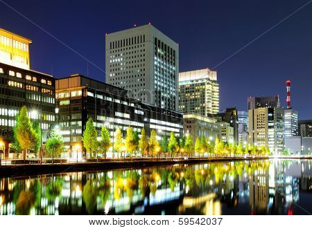 Tokyo commercial district at night