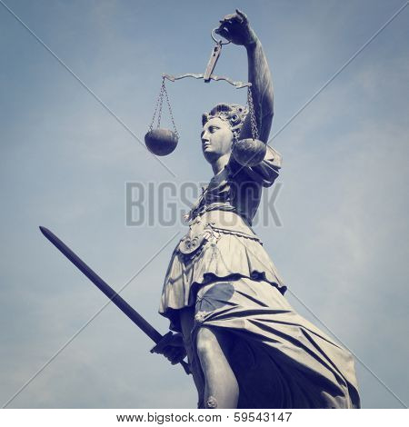 Statue of Lady Justice with retro effect